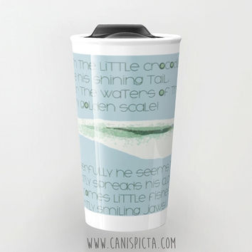 Alice in Wonderland Travel Mug Crocodile Tumbler Lewis Carroll Cup Tea Coffee Ceramic Goldfish Fandom Pastel Mint Fan Art Gift For Fish Blue