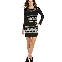 I.N. San Francisco Long-Sleeve Tribal-Print Sweater Dress - Black
