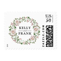 Rustic Watercolor Bohemian Floral Chic Wedding Postage