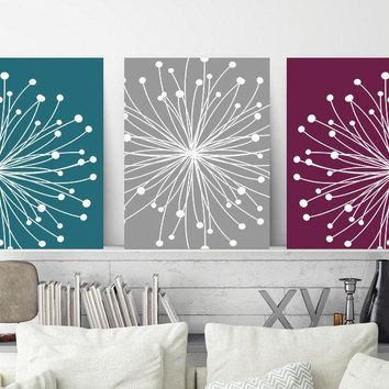 DANDELION WALL ART, Teal Maroon Gray Wall Art, Dandelion Canvas or Prints Master Bedroom Wall Decor, Bathroom Decor, Set of 3 Floral Decor