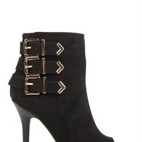 Single Sole Open Toe Booties with Gold Side Buckles