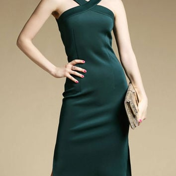 Green Halter Cold Shoulder  Slit Tube Midi Party  Pencil Dress