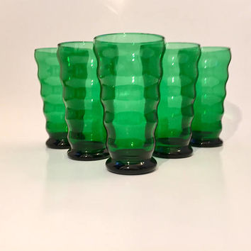 Green Tumbler Set, Set of 5 Anchor Hocking Whirly Twirly Drinking Glasses, Forest Green Tumblers