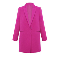 Rose Notched Collar Single Breasted Long Sleeves Coat With Pockets