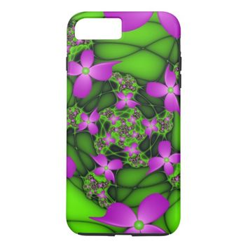 Modern Abstract Neon Pink Green Fractal Flowers iPhone 7 Plus Case