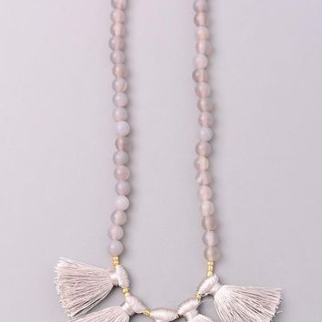 Grey Tassel Rope Necklace