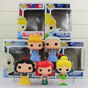 5styles 10cm FUNKO POP Princess Ariel Cinderella Tinker Bell snow white PVC Action Figures Doll Toy