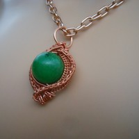 Wire Wrapped Green Quartz Pendant