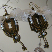 Key and Lock Antique Gold Earrings with Pearls and Bow