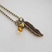 Feather Charm Necklace - Bohemian Feather And Bead - Antique Brass Charm Necklace - Custom - Feather Charm - Ball Chain - Everyday Jewelry
