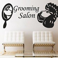 Wall Decals Quote Grooming Salon Decal Dog mirror Vinyl Sticker Pet-Shop Grooming Salon Home Decor Art Mural Ms722