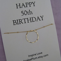 50th BIRTHDAY Gift for her, Gold Eternity Circle necklace for mom, family of 5, gift for wife,  Eternity necklace, Gift For Her