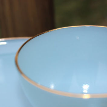 ONE Vintage Fire King Delphite Blue turquoise Snack set plate and cup w/ gold rim -3 available- MCM blue milk glass plate, vintage Fireking