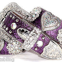Atlas Cowgirl Western Purple AB Crystal Heart Concho Rhinestone Leather Belt