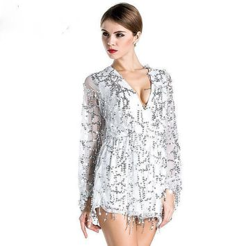 Free Shipping Missord 2015 Sexy Deep V Sleeved Sequined  Rompers Playsuits Ft2800