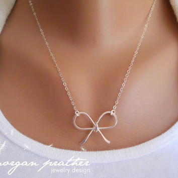Sterling Silver Bow Necklace - Bow charm pendant suspended - Sterling Silver Fine Chain - morganprather