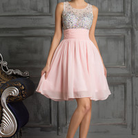 Sheer Beaded Sleeveless Empire Waist Homecoming Dress