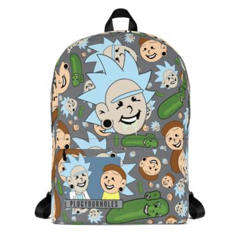 Plug Boy Rick & Plug Boy Morty - Grey All-Over - Backpack