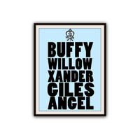 Buffy the Vampire Slayer Scooby Gang Typography Poster