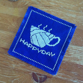 Office drink coaster HAPPY DAY drink coaster Cross stitch coaster Fabric coaster Volleyball theme coaster Mazarine blue coaster