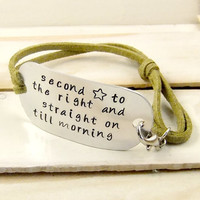 Quote Bracelet, Leather Bracelet, Peter Pan Quote, Personalized Jewelry