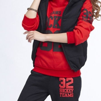 women tracksuits sport suit women sportswear autumn and spring sports Hoodie (hoody,panty,vest) 3pcs sets = 1932261380