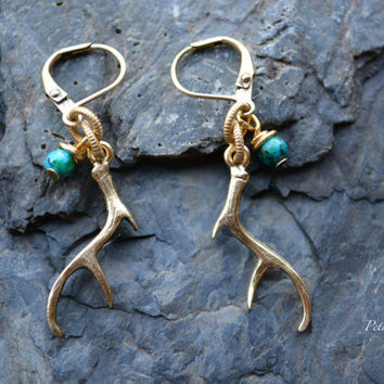 Gold Deer Antler Earrings - Antler Earrings -  Woodland Style Jewelry - Antique Gold Antler Earrings - Antler Jewelry - Gold Deer Jewelry