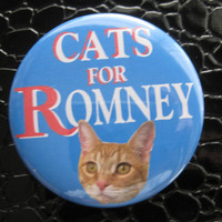 cats for Romney pin or magnet