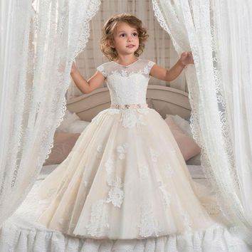 Flower Girl Dress Jewel Sash Lace Girl's Birthday Party First Communion Gowns Lace Custom Made