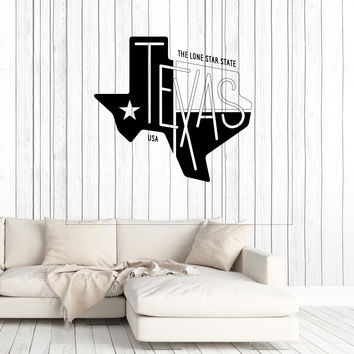 Wall Vinyl Decal Abstract Map Texas with Inscription The Lone Star State Unique Gift z4766