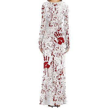 Boho Summer Wrap Maxi Dress Blood Palm Print Long Sleeve V-neck Sashes Long Dress Women  2018 Halloween Dress