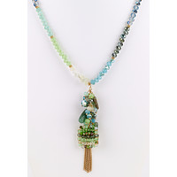 Bead Cluster Long Necklace - Green