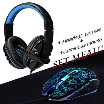 2pcs/combo Soyto No.733 Gaming Headset Headphones with Mic + USB Optical Wired Gaming Mouse mice for Computer PC Pro Gamer