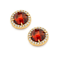 Sterling Silver Red Center Clear Outline Stud Earring