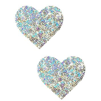 Silver Sequin Heart Pasties
