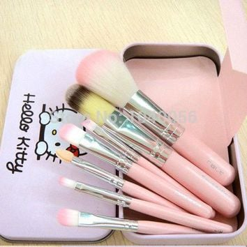 ICIKHY9 Hot sale Hello Kitty 7 pcs Mini Makeup brush Set cosmetics kit make up tools for eyeshadow blush with Metal box.