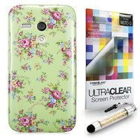 Floral Rose Classic 2200 back cover, Motorola Moto G, Green