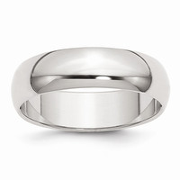 Sterling Silver 6mm Half-Round Wedding Band Ring: RingSize: 10