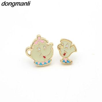 P94 Alloy Enamel Lovely Cartoon Beauty And The Beast Earrings Cosplay Jewelry Famous Movie Cups Stud Earring Kids Ear Studs