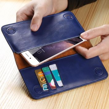FLOVEME Retro Leather Universal Wallet Pouch Case For iPhone 7 6 6s Plus 5S 5 SE 5C 4S For Xiaomi Mi5 For HTC M9 For LG G5 G4 G3