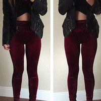 Velvetten Leggings - Burgundy