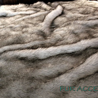 Plush Faux Fur Bedspread / Comforter / Throw Blanket / Exotic Black Tip Russian Wolf / Custom Made USA / All New Sizes