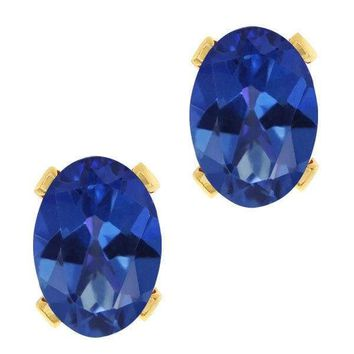 3.20 Ct Oval Royal Blue Mystic Topaz Gold Plated 4-prong Stud Earrings 8x6mm