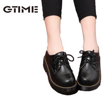 Ankle High Lace Up Round Toe Thick Flat Square Heels Women's Winter Boots