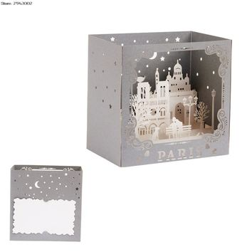 Paris Sculpture 3D Pop UP Paper Laser Cut Greeting Card Handmade Sculpture Thank You Postcards Birthday Festival Gift