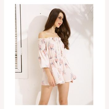 Flare Sleeve Floral Romper