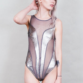 Ray Gun - Silver metallic bodysuit with grey mesh inserts - sleeveless