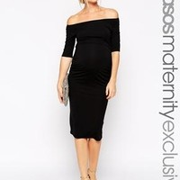 ASOS Maternity | ASOS Maternity Bardot Dress With Half Sleeve at ASOS