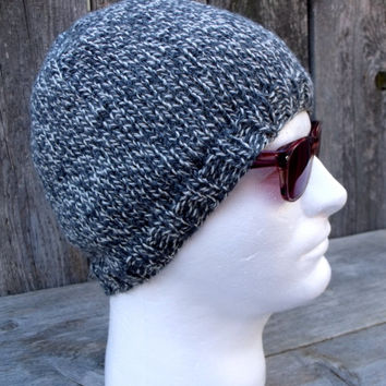 Men's Knit Hat in Dark Grey and White Marled, Men's Beanie, Knitting Hat, Knit Beanie, Ragg Yarn, Twisted Yarn, ,
