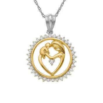 Pure Sterling Silver Mother and Child Pendant Necklace